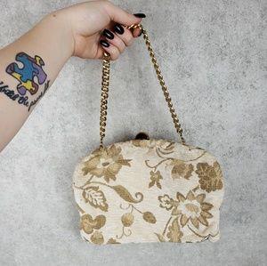 Vintage floral gold fabric bag